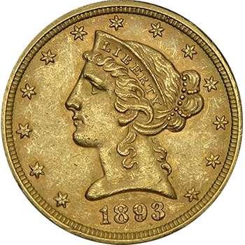 1893 USA Liberty Head Five Dollars Gold Coin