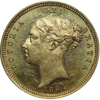 1884 M Australia Queen Victoria Young Head Shield Half Sovereign Gold Coin