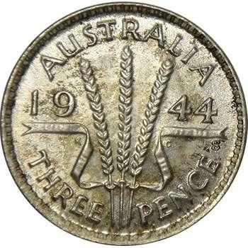 1944 S Australia King George VI Threepence Silver Coin