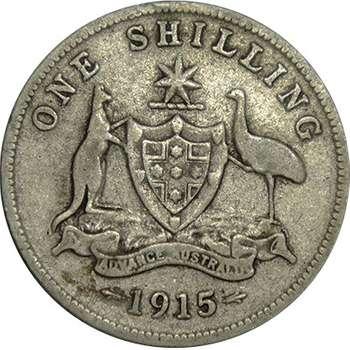 1915 Australia King George V Shilling Silver Coin
