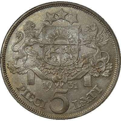 1931 Latvia 5 Lati Silver Coin
