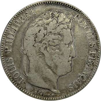 1834 A France Louis Phillippe I 5 Francs Silver Coin