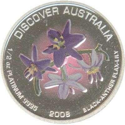 1/2 oz 2008 Australia Black-Anther Flax-Lily Platinum Bullion Coin