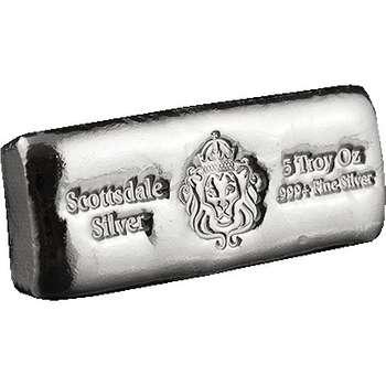 5 oz Scottsdale Silver Bullion Cast Bar