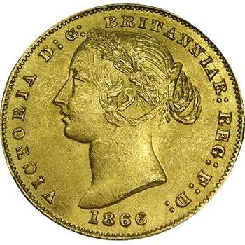 1866 Australia Sydney Mint Type II Queen Victoria Sovereign Gold Coin