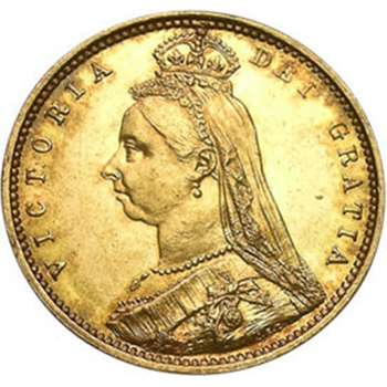 1887 M Australia Queen Victoria Jubilee Crowned Shield Half Sovereign Gold Coin