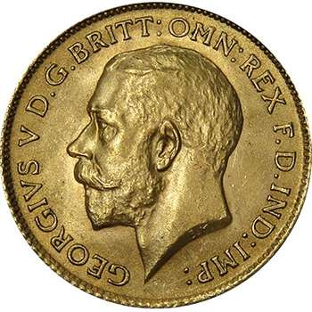 1912 Great Britain King George V Half Sovereign Gold Coin