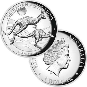 1 oz 2018 Australian Kangaroo High Relief Silver Proof Coin