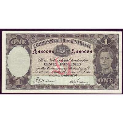 1938 Australia R. 29 One Pound King George VI Sheehan/ McFarlane Australian Predecimal Banknote
