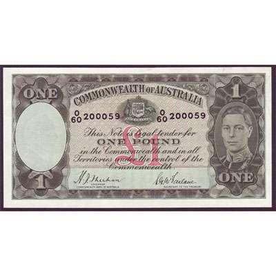 1938 Australia R. 29 One Pound King George VI Sheehan/McFarlane Australian Predecimal Banknote