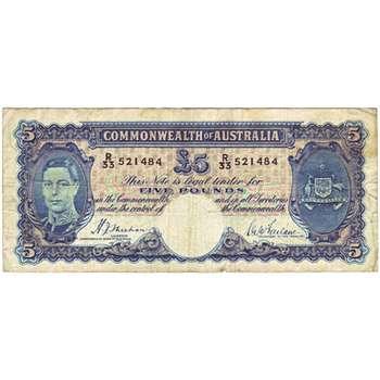 1939 Australia R. 45 Five Pounds King George VI Sheehan/McFarlane Australian Predecimal Banknote