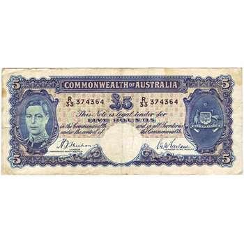 1939 Australia R. 45 Five Pounds King George VI Sheehan/ McFarlane Australian Predecimal Banknote