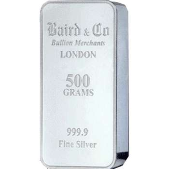 500 g  Baird & Co Minted Silver Bullion Bar