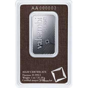 1 oz Valcambi Minted Platinum Bullion Bar