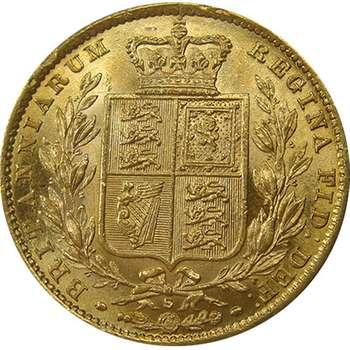 1880 S Australia Queen Victoria Young Head Shield Sovereign Gold Coin