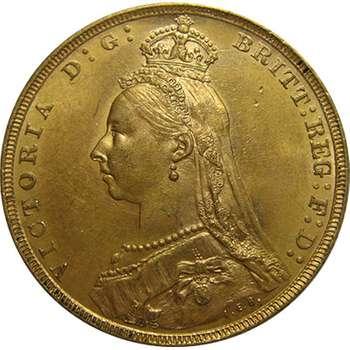 1891 M Australia Queen Victoria Jubilee Head St George Sovereign Gold Coin