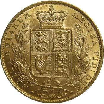 1872 M Australia Queen Victoria Young Head Shield Sovereign Gold Coin