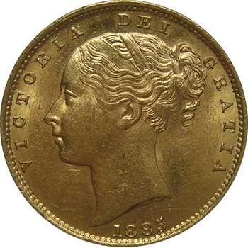 1885 S Australia Victoria Young Head Shield Sovereign Gold Coin