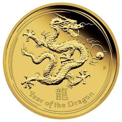 1/4 oz 2012 Australian Lunar Year of the Dragon Gold Bullion Coin