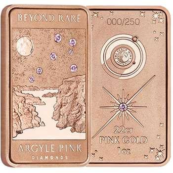 1 oz Lake Argyle Pink Diamond Rose Gold Ingot