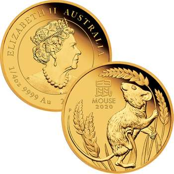 1/4 oz 2020 Australian Lunar Year Of The Mouse Gold Proof Coin