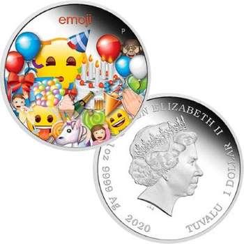1 oz 2020 emoji Celebration Silver Proof Coin