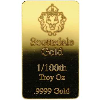 1/100 oz Scottsdale Gold Bullion Minted Bar