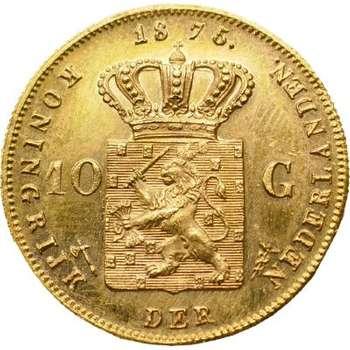 1875 Netherlands William III 10 Gulden Gold Coin