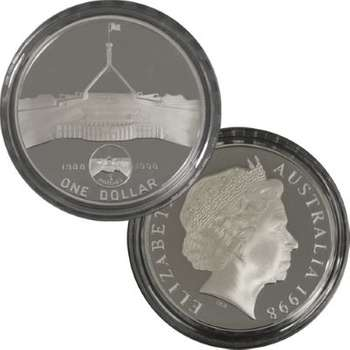 1 oz 1998 Parliament House 10 Years On $1 Silver Proof Coin