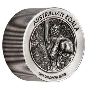 2 kg 2018 Silver Australian Koala High Relief Antiqued Coin