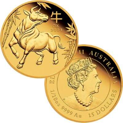 1/10 oz 2021 Australian Lunar Year Of The Ox Gold Proof Coin