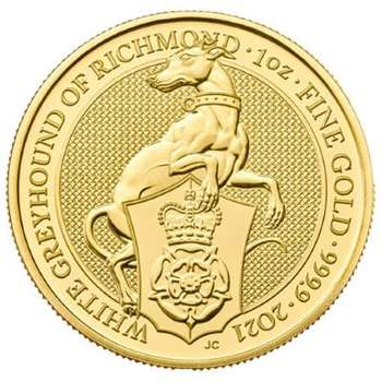 1 oz 2021 Royal Mint (UK) Queen's Beasts - The White Greyhound of Richmond Gold Bullion Coin