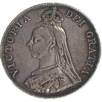 1890 Great Britain Queen Victoria Jubilee Crown Silver Coin