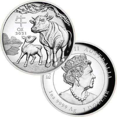 1 oz 2021 Silver Australian Lunar Year of the Ox Proof High Relief Coin
