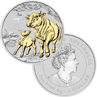 1 oz 2021 Silver Australian Lunar Year of the Ox Gilded Coin