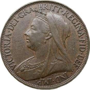 1901 Great Britain Queen Victoria Veil Head Farthing Bronze Coin
