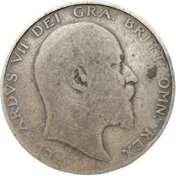 1902 Great Britain King Edward VII Half Crown Silver Coin