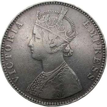 1901 India British Queen Victoria One Rupee Silver Coin