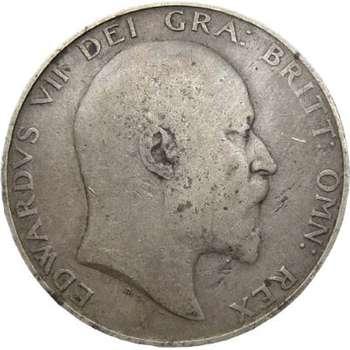 1906 Great Britain King Edward VII Half Crown Silver Coin