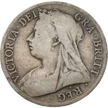 1894 Great Britain Queen Victoria Veil Head Half Crown Silver Coin