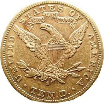 1892 S USA Liberty Head Ten Dollars Gold Coin
