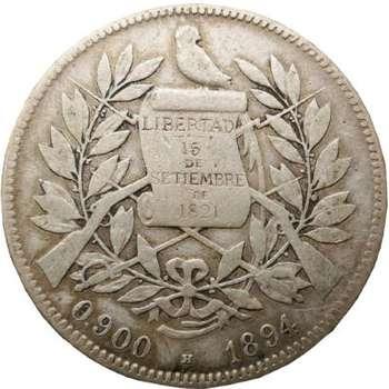 1894 H Guatemala 4 Reales Silver Coin