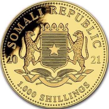 1 oz 2021 Somalia Elephant Gold Bullion Coin