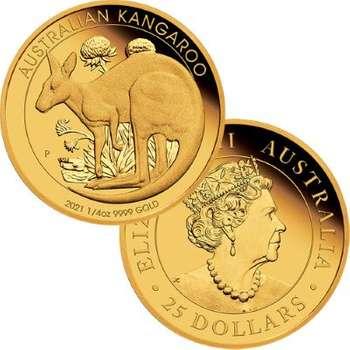 1/4 oz 2021 Australia Kangaroo Gold Proof Coin