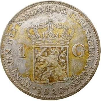 1928 Netherlands Queen Wilhelmina One Gulden Silver Coin