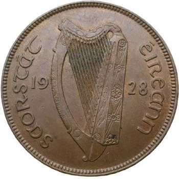 1928 Ireland 1 Penny Bronze Coin