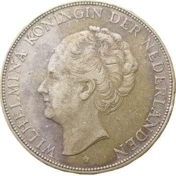 1931 Netherlands Queen Wilhelmina 2 1/2 Gulden Silver Coin