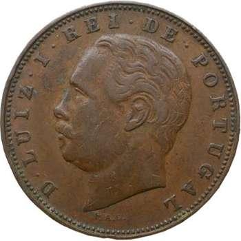 1883 Portugal Luis I 10 Reis Bronze Coin