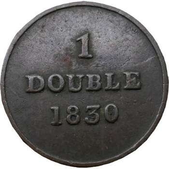 1830 Guernesey 1 Double Copper Coin