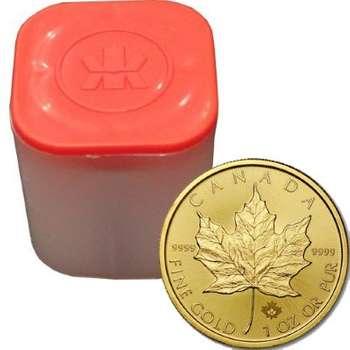 1 oz 2021 Canadian Maple Leaf Gold Bullion Coin - 10 oz mint tube